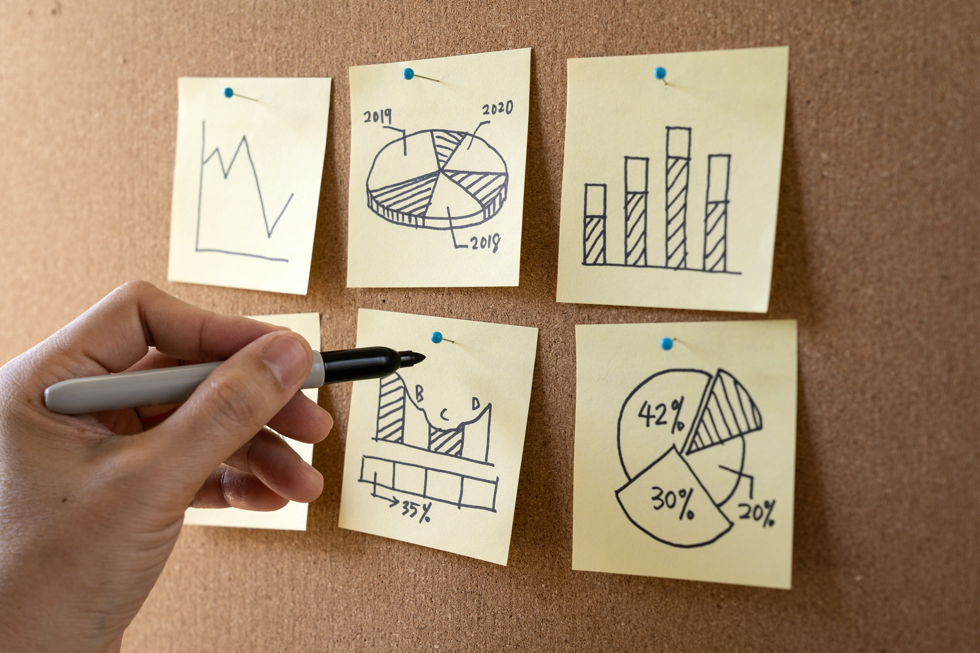 Businessman performing business analysis and planning